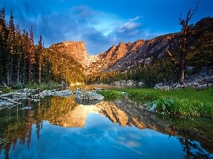 reflection, boulders, lake, west, forest, sun, Mountains