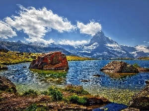 boulders, Matterhorn, lake, Alps, VEGETATION, mount