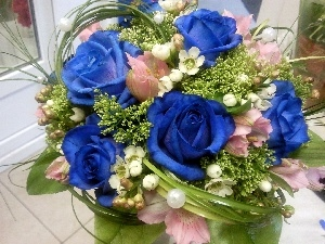 Blue, bouquet, roses
