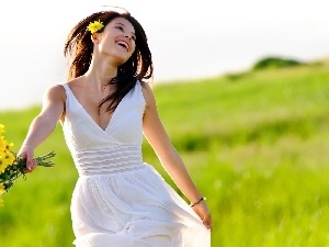 bouquet, Meadow, happy, flowers, girl