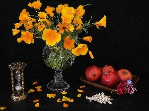 Hourglass Bouquet, grenades, Yellow, composition, shell, bouquet, papavers