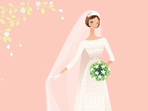 bouquet, White, Dress, lady, veil, young