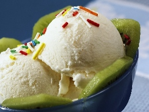 bowl, decoration, ice cream, kiwi