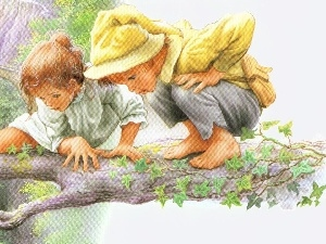Kids, branch, two