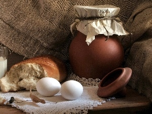 bread, eggs, pitcher, milk