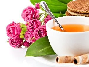 breakfast, roses, tea, Cookies