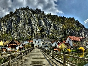 Germany, bridge, wooden, Mountains, Bavaria, buildings, River