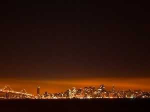 bridge, night, San Francisco, lighting, Town