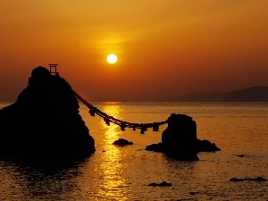 bridge, rocks, west, pendant, sun