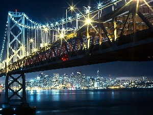 bridge, Floodlit, San Francisco, River, Night