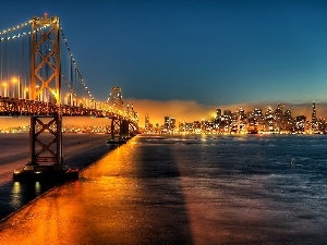 San Francisco, Golden Gate, Town, Gulf, skyscrapers, clouds, night, bridge