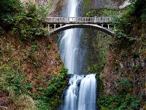 bridge, viewes, waterfall, trees