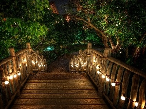 bridges, wooden, Garden, Floodlit