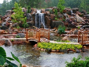 bridges, waterfall, Park, brook