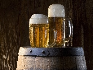 Bright, Beer, barrel, Mugs