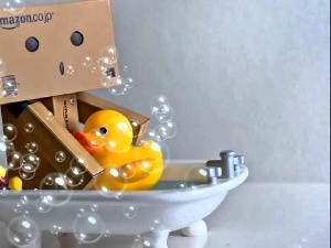 bubbles, Bath, Danbo, ducks, In bath