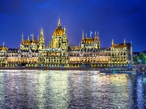 Budapest, Monument, parliament, River, Hungary, Danube