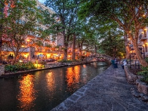 buildings, Town, San Antonio, River