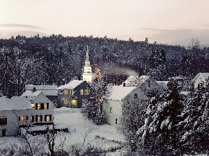 buildings, Church, woods, winter