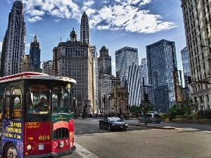 bus, Street, skyscrapers, clouds