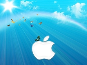 clouds, butterflies, Apple