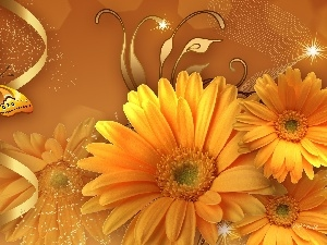 gerberas, butterfly, Yellow
