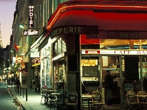 alley, cafeteria, Paris