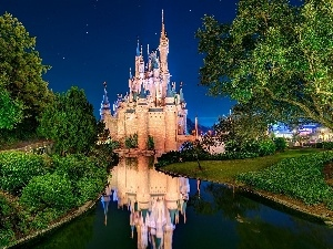 California, Night, Disneyland, Castle, USA, River