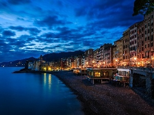 Camogli, Town, sea, Italy, Beaches
