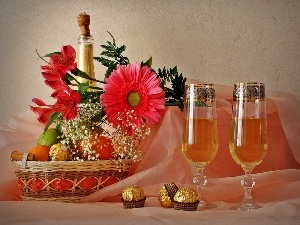 Candies, Flowers, Champagne, glasses