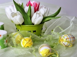 Candles, eggs, bouquet, tulips