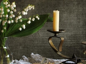 candle, candlestick, lilies