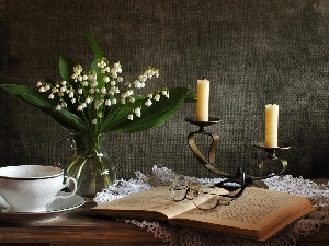 candlestick, Glasses, lilies, Book