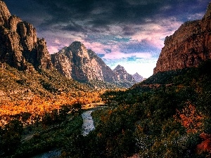 River, ligh, sun, luminosity, flash, cloudy, Sky, shadow, canyon