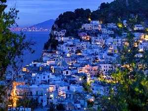Capri, Island, Houses, Night