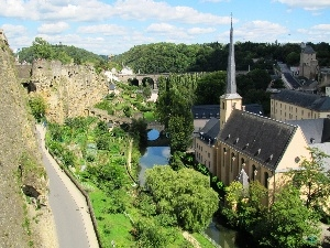 Moselle, Castle, the walls, Luxembourg, River, Town, Church