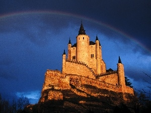 Castle, clouds, Great Rainbows