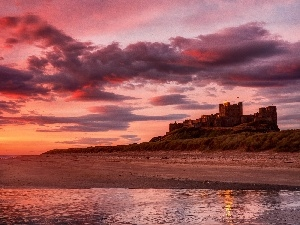 Castle, sea, west, sun