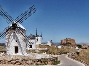 castle, ruins, Windmills, Sights