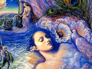 Castle, water, Women, Josephine Wall, Flowers