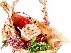 Bottle, champagne, basket