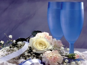 glasses, Champagne, Flowers