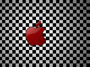 Apple, checkerboard, Red, logo