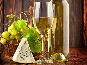 cheese, Grapes, Bottle, Wines