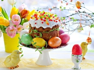 chickens, easter, Tulips, cake, eggs