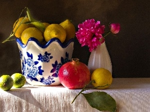 china, navy blue, Colourfull Flowers, lemons