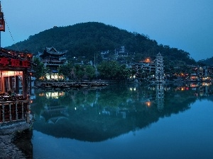 China, mountains, Restaurant, River