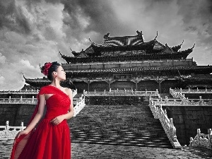 Dress, Chinese, red hot, architecture, China, Buldings