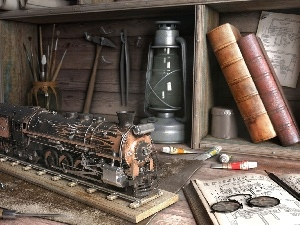 chisel, hammer, locomotive, Lamp, Books