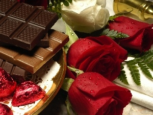 chocolate, roses, Red, White